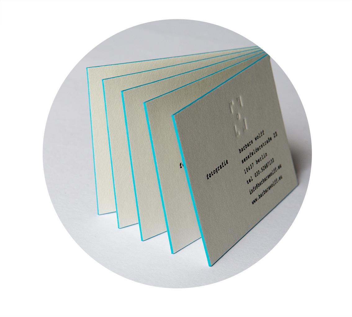 Letterpress Visitenkarten mit Farbschnitt für Fotografin aus Berlin