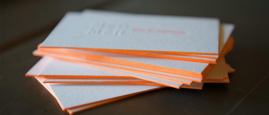 NEON Letterpress Visitenkarten fürs Gestaltungsbüro