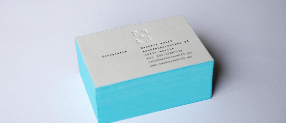 Letterpress Visitenkarten Mit Farbschnitt Für Fotografin Aus